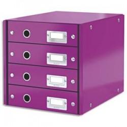 LEITZ Module de classement 4 tiroirs WOW en carton recouvert de polypropylène. Coloris violet.