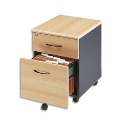 MT INTERNATIONAL Caisson mobile 2 tiroirs, 1 pour dossiers suspendus hêtre anthracite L41x H55x P50 cm