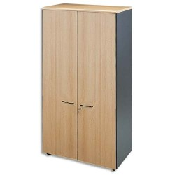 MT INTERNATIONAL Armoire haute portes pleines 1 tab. fixe+3 amovibles hêtre antharcite L90x H180x P48 cm