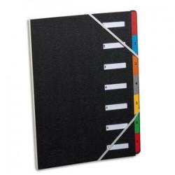 EXTENDOS Trieur numérique à élastique en celloderme. 7 compartiments. Coloris noir, touches assorties.