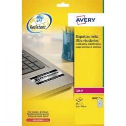 AVERY Boîte de 20 étiquettes ultra-résistantes métalliques 210 x 297mm L6013-20