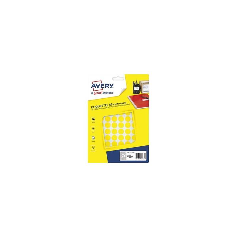 AVERY Sachet de 960 pastilles Ø15 mm. Imprimables. Coloris jaune.