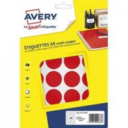 AVERY Sachet de 240 pastilles Ø30 mm. Imprimables. Coloris rouge.
