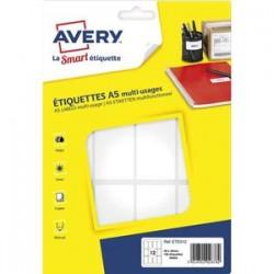 AVERY Sachet de 192 étiquettes multi-usage blanches 56 x 34 mm. Planche format A5. ETE012