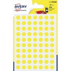 AVERY Sachet de 490 pastilles Ø8 mm. Ecriture manuelle. Coloris jaune.