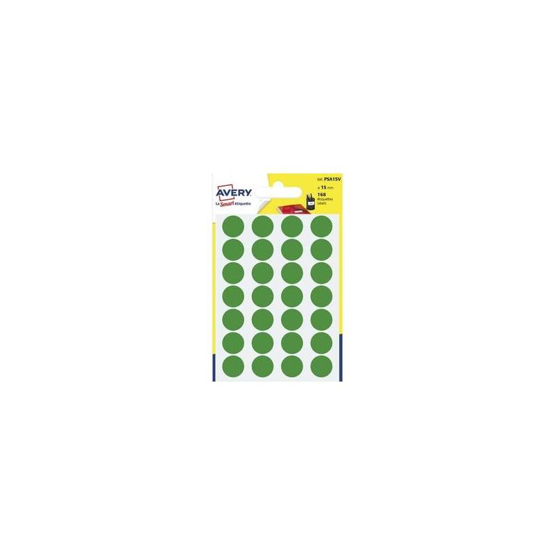 AVERY Sachet de 168 pastilles Ø15 mm. Ecriture manuelle. Coloris vert.