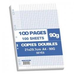 NEUTRE Sachet de 100 pages copies doubles A4 grands carreaux 90g perforées
