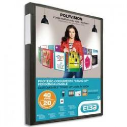 ELBA Protège-documents en polypropylène 40 vues noir , couv. personnalisable 8/10e, pochettes 6/100e