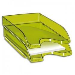 CEP Corbeille à courrier Happy vert bambou transparent. Dimensions : L34,5 x H6,4 x P26 cm
