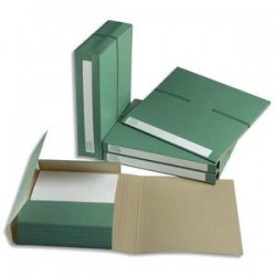 EXTENDOS Dossier pour archivage à 3 rabats , dos de 6 cm, en carton vert, fermeture par élastique