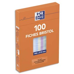 HAMELIN Boîte de 100 fiches bristol 148x210 mm 5x5 assorti 236029
