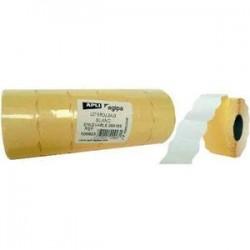 AGIPA Pack 6 rouleaux 1000 étiquettes blanches sinusoïdales enlevables 26X16mm pour pinces 151992-101419