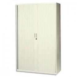 MT INTERNATIONAL Armoire haute monobloc éco Corps et Rideau beige - Dimensions : L120 x H198 x P43 cm