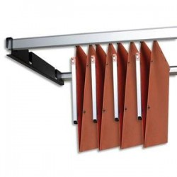 OBLIQUE AZ Jeu de 2 rails métal gris avec support noir pour dossiers suspendus armoire