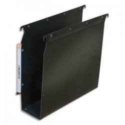 OBLIQUE AZ Paquet de 10 dossiers suspendus ARMOIRE en polypro opaque. Fond 80, bouton-pression. Noir