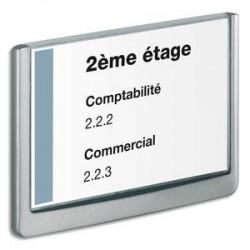 DURABLE Plaque de porte CLICKSIGN Gris en ABS - Fiche Bristol fournie, L 21 x H 14,85 cm