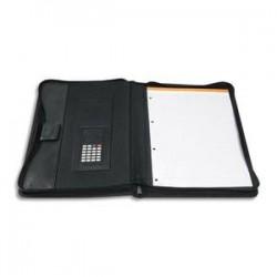 EXACOMPTA Porte documents conférencier Exawallet noir, polypropylène 20/10e recyclé bloc ligné+calculette