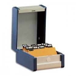 REXEL Boîte à fiches Provence format A6 en hauteur H148 x P105 mm bleu, livré avec séparateur métallique