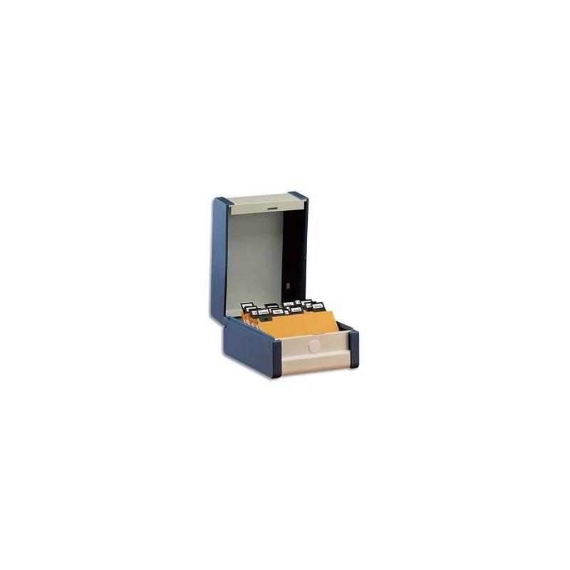 REXEL Boîte à fiches Provence format A5 en hauteur H210 x P148 mm bleu, livré avec séparateur métallique