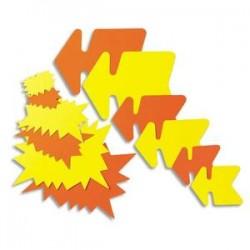 AGIPA Paquet de 25 étiquettes pour point de vente en carton fluo jaune/orange forme éclaté 24 x 32 cm