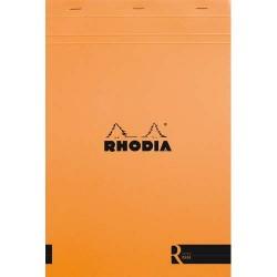 """RHODIA Bloc """"coloR"""" agrafé en-tête 21x29,7 (n°18) 140 pages lignées. Couverture rembordée orange"""