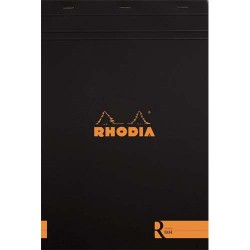 """RHODIA Bloc """"coloR"""" agrafé en-tête 21x29,7 (n°18) 140 pages lignées. Couverture rembordée noire"""