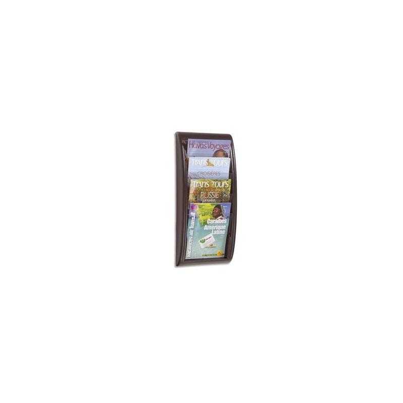 PAPERFLOW Présentoir mural Quick Fit System, 4 cases format A4 épaisseur 2 cm, L29 x H65 x P9,5 cm noir