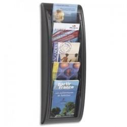PAPERFLOW Présentoir mural Quick Fit System, 5 cases format A5 épaisseur 2 cm, L22,7 x H65 x P9,5 cm noir