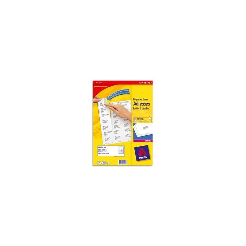 AVERY Boîte de 4000 étiquettes laser Blanc 99,1X33,9 L7162-250