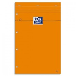 OXFORD Bloc de direction agrafé en tête 160 pages 80g lignées 21x32 Couverture orange