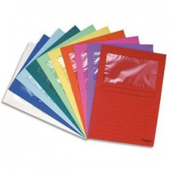 EXACOMPTA Paquet de 25 pochettes coins en carte 120g avec fenêtre, assortis vif