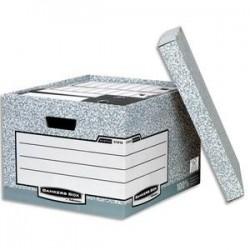 BANKERS BOX Caisse standard L33,3xh28,5xp39cm, montage automatique, carton recyclé gris/blanc