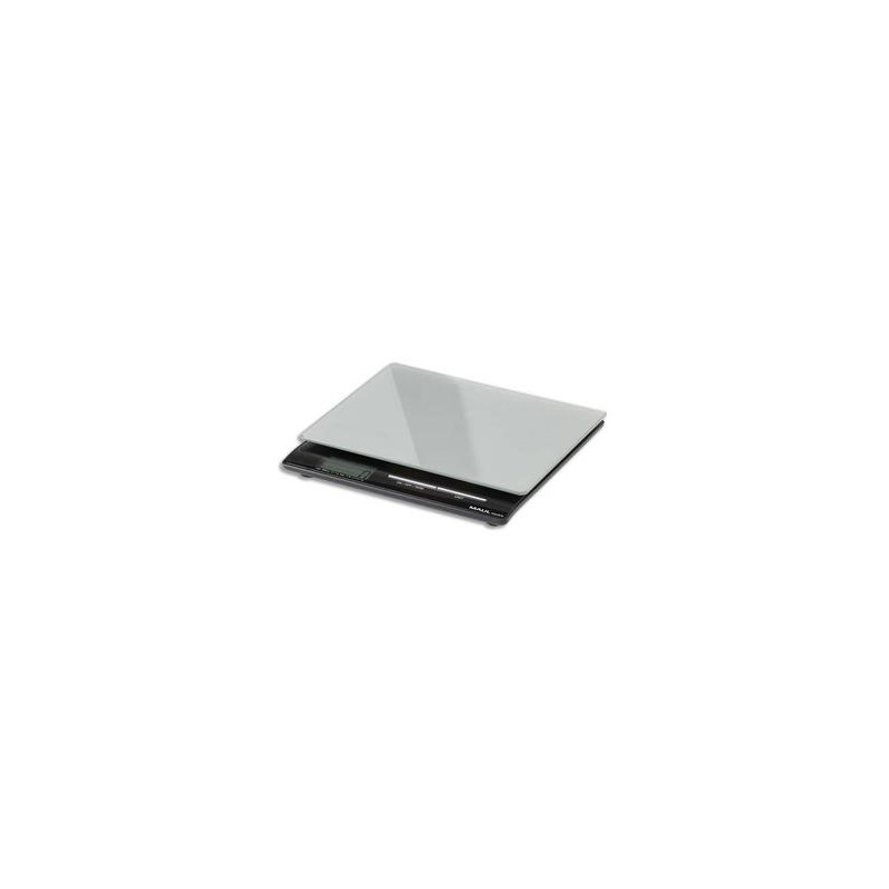 MAUL Pèse-lettre MAULsquare à pile portée 5 kg Plateau verre de securité, L18 x H2,2 x P17,7 cm argenté