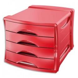 ESSELTE Bloc de classement Europost 4 tiroirs - Vivida rouge - L28,5 x H24,5 x P38 cm