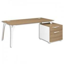 GAUTIER Bureau pieds métal + bloc 2 tiroirs réversible Xenon - Dim : L190 x H75 x P90 cm merisier Italien