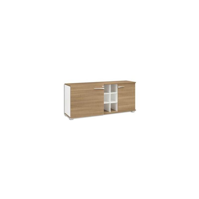 GAUTIER Crédence 2 portes 6 niches Xenon - Dimensions : L170 x H78 x P47 cm coloris merisier Italien