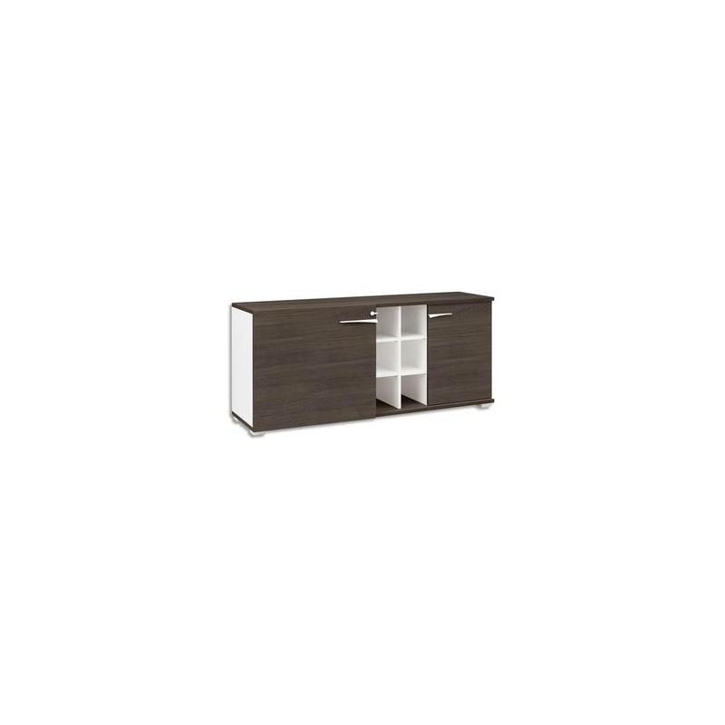 GAUTIER Crédence 2 portes 6 niches Xenon - Dimensions : L170 x H78 x P47 cm coloris chêne Royal