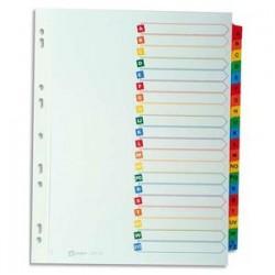 AVERY Répertoire alphabétique 20 touches . En carte blanche, onglets plastifiés de couleur. Format A4.