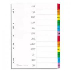 AVERY Répertoire mensuel 12 touches . En carte blanche, onglets plastifiés de couleur. Maxi format.