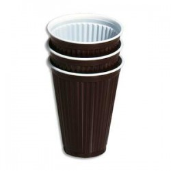 HUHTAMAKI Sachet de 100 gobelets 18 cl boissons chaudes rainurés marron/blanc H. 9,1 cm Diamètre 7,03 cm