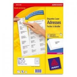 AVERY Boîte de 1200 étiquettes. Laser blanc 99,1X42,3mm L7177-100