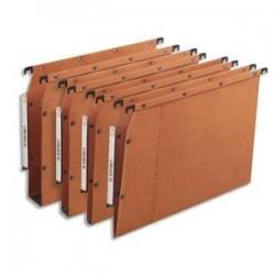 OBLIQUE AZ Boîte de 25 dossiers suspendus ARMOIRE en kraft 240g. Fond V, bouton-pression. Orange
