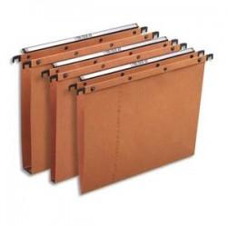 OBLIQUE AZ Boîte de 25 dossiers suspendus TIROIR en kraft 240g. Fond 15, bouton-pression. Orange