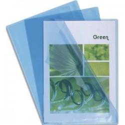 EXACOMPTA Boîte de 100 pochettes coin en PVC 14/100 ème. Coloris bleu.