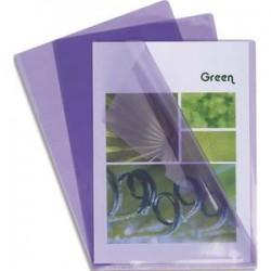 EXACOMPTA Boîte de 100 pochettes coin en PVC 14/100 ème. Coloris parme.