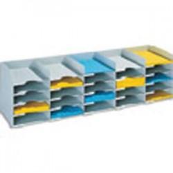 PAPERFLOW Bloc classeur à 20 cases fixes pour doc A4 capacité 500 feuilles L89,7 x H31,3 x P30,4 cm gris