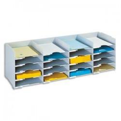 PAPERFLOW Bloc classeur à 25 cases fixes pour doc A4 capacité 500 feuilles L112 x H31,3 x P30,4 cm gris