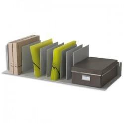 PAPERFLOW Trieur avec 12 séparateurs amovibles/crémaillères au pas 2,5 cm L112 x H21 x P27,5 cm gris