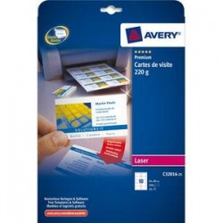 AVERY Pochette de 250 cartes de visite (85x54 mm) 220g coins droits laser finition mate