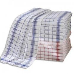 HYGIENE Lot de 12 Torchons professionnels Métis 55% lin 45% coton damier bleu rouge - Format : 70 x 50 cm